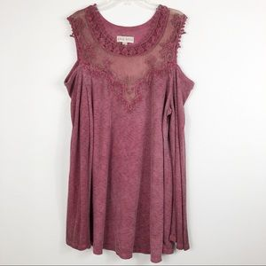 Knox Rose Cold Shoulder Embroidered Mesh Tunic Top